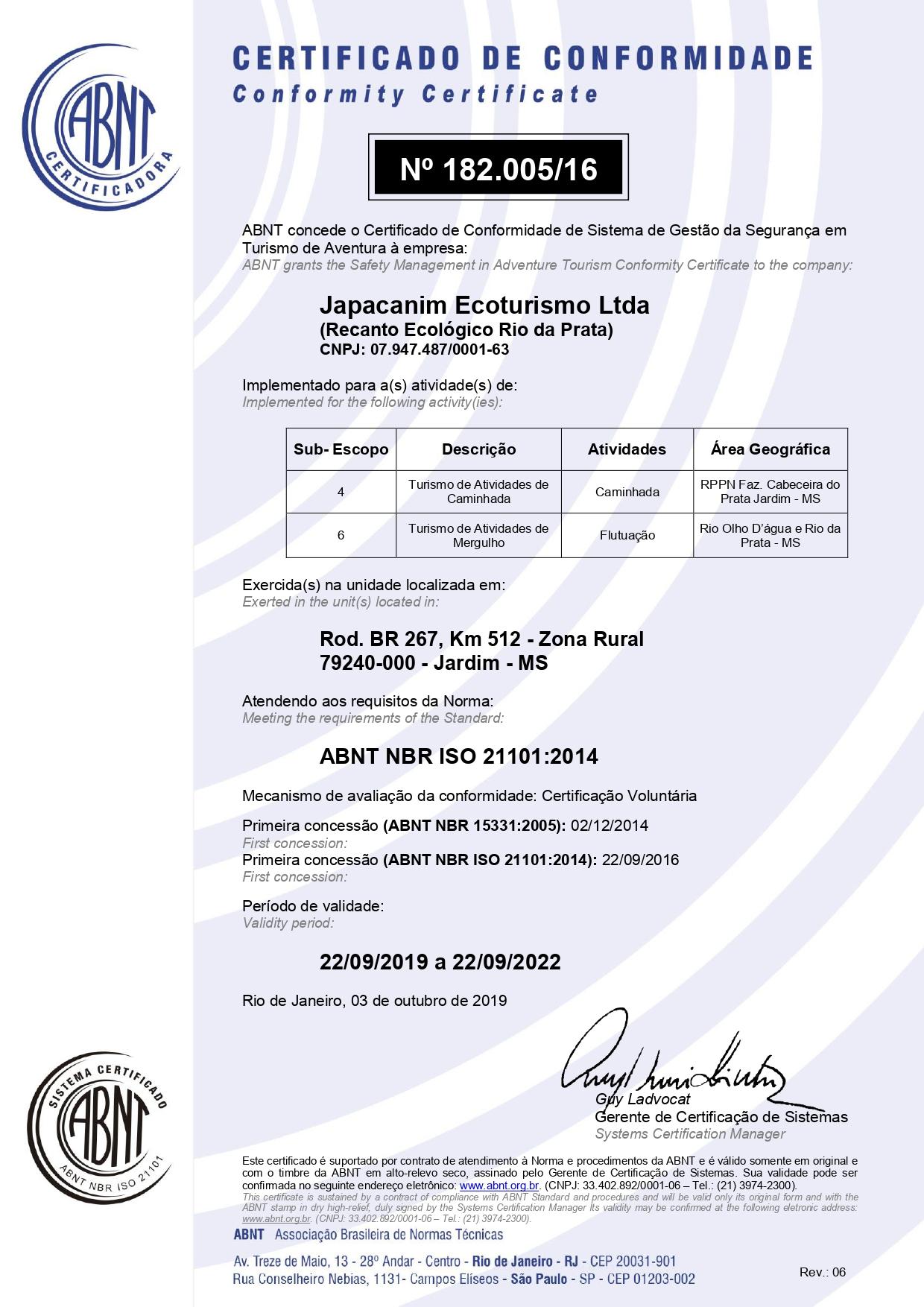 Certificado de Conformidade Recanto Ecológico Rio da Prata
